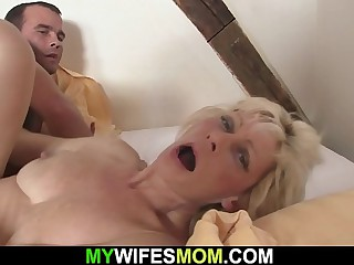 Blonde mother-in-law seduces him into first and foremost sex