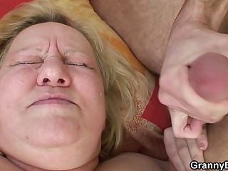 Big titted granny and boy