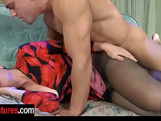 Flesh beam wakes up a mature in black control top hose for a fuck session