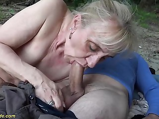 new horny 86 years old granny rough outdoor banged