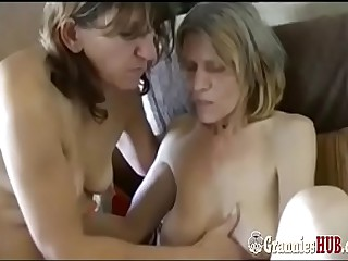 Old Saggy Granny And GILF Brunette Are Lesbians