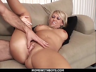 MomsWithBoys - Hot Blond Mom Anal Chaise longue Fucked By Young Hard Cock