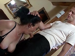 Hairy Grandma Found Porn of Puerile Boy and let him Fuck Anal