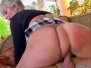 Busty mature loves young horseshit