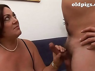 Lesson of sex of a mother to their way dork son!