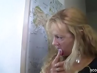 German MILF together with Aunt Butter up Young Boy hither Fuck Her
