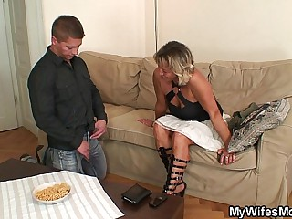 Girlfriends mom spreads legs be incumbent on him