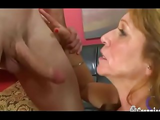 Scalding Granny With Lovely Boobs Gets Creampied Hard by Huge Young Cock
