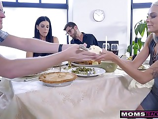 Mom Fucks Son & Eats Teen Creampie Be fitting of Thanksgiving Treat