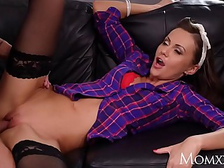 MOM Brunette MILF Tina Kay sensual blowjob and about-turn cowgirl