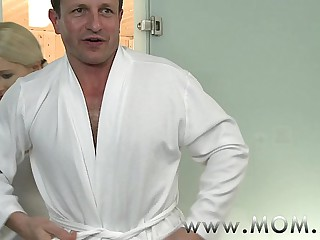 MOM Blonde MILF rubs more than unparalleled his back