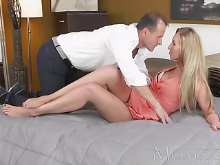 MOM Stunning blonde MILF with amazing body sucks with an increment of fucks guys hard cock