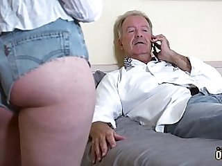 Teenager gets pussy fucked by mature mendicant added to she swallows his cumshot